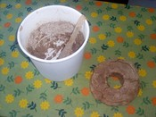 English: Home made sourdough rye bread, and what's left of the dough left in container to be used as a starter.