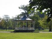 English: The Bandstand in Town Hall Park, Hayes. The bandstand is used each summer for concerts. The park and bandstand were featured in the film 'Bend it Like Beckham'