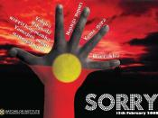 English: One of three posters produced by Batchelor Press/Batchelor Institute to commemorate the day Australian Prime Minister Kevin Rudd apologised to the stolen generation (13th February 2008).