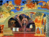 THE CHAMBER OF THE NOVGOROD COUNCIL. Stage-set design for Scene One of the opera Sadko by Rimsky-Korsakov. 1914