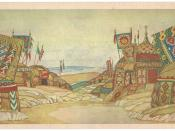 THE POLOVTSY CAMP. Stage-set design for Act Two of the opera