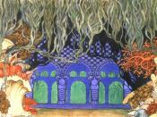THE WATER KINGDOM. Stage-set design for Scene Six of the opera Sadko by Rimsky-Korsakov. 1914