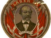 English: Beer coaster (?) with J.B.S. Estrup's portrait
