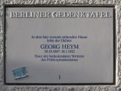 Berliner Gedenktafel für Georg Heym. Neue Kantstraße 12/13, Berlin-Charlottenburg. Enthüllt am 30. Oktober 1987.