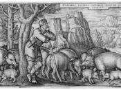 Hans Sebald Beham engraving of the parable of the Prodigal Son with his pigs, 1536