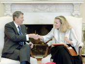 President Reagan meeting with Peggy Noonan in the Oval Office