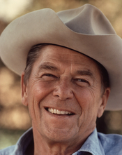 Ronald Reagan wearing cowboy hat at Rancho del Cielo.