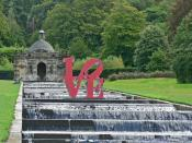 English: Chatsworth House - LOVE on the cascade Not only is Chatsworth the home of classical sculptures but also those in the modern idiom. Often works are displayed here for temporary exhibition. Although 'LOVE' adds something to the cascade it doesn't a