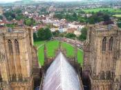 English: The city of Wells, Somerset, UK as seen from atop the central tower of Wells Cathedral looking West.
