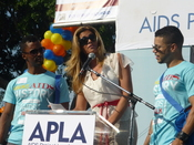 English: Darryl Stephens, Candis Cayne and Wilson Cruz at 25th annual AIDS Walk.