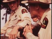 U.S. FOREST SERVICE DISTRICT RANGER (LEFT) FROM LOWVILLE TALKS THINGS OVER WITH FOREST RANGER AT STILLWATER - NARA - 554444