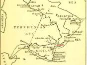 English: A map of the wanderings of Aeneas, showing the positions of Charybdis and Scylla (underlined in red), from an edition of The Aeneid of Virgil, Book III, edited by Philip Sandford, London: Blackie & Son. 1900