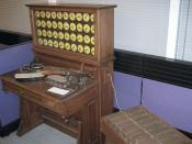 Replica of early Hollerith punched card tabulator and sorter (right) at Computer History Museum