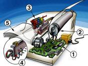 English: Cutaway drawing, illustration of an inkjet printer