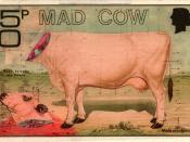 English: The artistamp commemorates the scourge of Mad Cow disease when it was destroying the livestock in UK beginning in 1986.