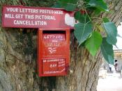 Pictorial cancellation. Postal cancellation with a special design. This post box is located at a historical site Somnathpur in Karnataka, India. The special postal cancellation is to act as a publicity / commemoration media for this tourist site. The spec