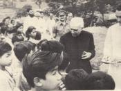 Jawaharlal Nehru hands out sweets to students at Nongpoh in Meghalaya