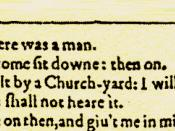 Top left corner of page 282 from the First Folio of The Winter's Tale. Page 282 from the First Folio of Shakespeare's The Winter's Tale, reproduced on the program cover of the Riverside Shakespeare Company's production of the play, 25 February 1983.