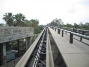 people mover at Orlando International Airport, may 2005 US Airways baggage carts can be seen at the bottom left.