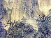 English: A Solitary Temple amid Clearing Peaks (晴峦萧寺). Hanging scroll, ink on silk. Size 111.4 x 56 cm (height x width). Painting is located in the Nelson-Atkins Museum of Art, Kansas City, Missouri. (See Barnhart, R. M. et al. (1997). Three thousand year