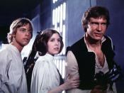 The three lead protagonists of Star Wars, from left to right: Luke Skywalker (Mark Hamill), Princess Leia (Carrie Fisher), and Han Solo (Harrison Ford).