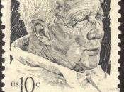 A U.S stamp with the picture of the poet Robert Frost.
