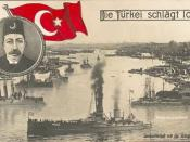 English: The Ottoman Navy at the Golden Horn in Istanbul, with the image of Sultan Mehmed V at top left. German postcard from the beginning of World War I.