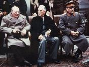 English: Yalta summit in 1945 with Winston Churchill, Franklin Roosevelt and Joseph Stalin Yalta Conference, February 1945 Allied leaders pose in the courtyard of Livadia Palace, Yalta, during the conference. Those seated are (from left to right): Prime M