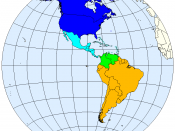 Division of the Americas into North, Middle and South America.