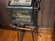 English: An adding machine made by Burroughs Corporation on display at a historical museum.