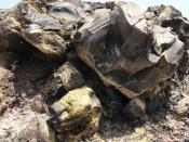 Deposit from hydrogen sulphide (volcanic rock in Nea Kameni, Santorini, Greece)