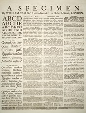 A specimen sheet of typefaces and languages, by William Caslon I, letter founder; from the 1728 Cyclopaedia. Deutsch: Schriftmusterblatt der Schriftgiesserei von William Caslon