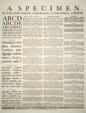 A specimen sheet of typefaces and languages, by William Caslon I, letter founder; from the 1728 Cyclopaedia. Deutsch: Schriftmusterblatt der Schriftgiesserei von William Caslon