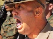 English: Staff Sergeant Kevin L. Zetina, Platoon 2085's senior drill instructor, bellows cadence while practicing for Company G's final drill competition. Deutsch: Ausbilder (Drill Instructor) beim United States Marine Corps. Español: Un instructor aborda