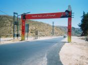 A picture of a Hezbollah sign over the highway in South Lebanon near the Litani River