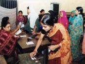 Women standing in line to vote in Bangladesh.