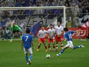 English: Shunsuke Nakamura taking a free kick, during Japan's world cup qualifier against Bahrain on June 22, 2008