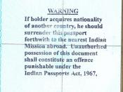 Warning stamped onto Indian Passports Issued by the High Commission of India, Ottawa, Canada