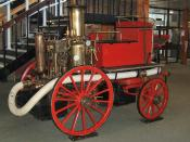 Preserved British steam-powered fire engine – an example of a mobile steam engine. This is a horse-drawn vehicle: the steam engine drives the water pump