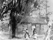 English: The cabin where Mary Jane McLeod was born and grew up in Mayesville, South Carolina. Photo taken 18??.