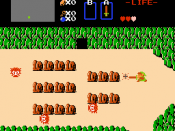 Link fights enemies on the overland map of Hyrule in The Legend of Zelda, his gaming debut.