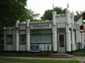 White Castle Building No. 8 in Minneapolis, Minnesota. The restaurant is listed on the National Register of Historic Places as an example of a prefabricated porcelain-coated steel structure once built by the chain.