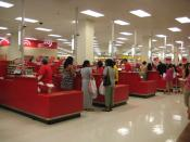 English: This is a row of Cash Registers at a Target store in the US