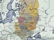 English: Principalities of the later Kievan Rus (after the death of Yaroslav I in 1054). (the background map is a modern map of Europe showing current national boundaries, and modern artificial waterways and reservoirs in Russia)