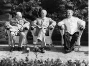 Big Three at the Potsdam Conference in Germany: Prime Minister Winston Churchill, President Harry S. Truman and Generalissimo Josef Stalin, seated in garden.