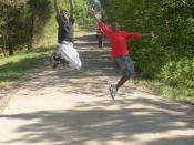 English: Students on camping trip
