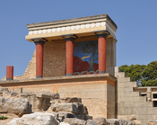 The palace of Knossos (Crete, Greece): part of the northern entrance, reconstructed by the British archaeologist Sir Arthur Evans
