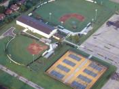 Aerial photo of baseball field, softball field, indoor facility, and tennis courts