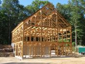 English: A rough-sawn hemlock timber frame horse barn located in Weston, MA just after it was raised.