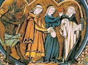 Nederlands: Een demoon die zijn lust kenbaar maakt in een manuscript uit de 13de eeuw.